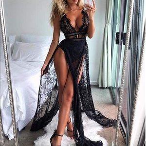 Black High split lace dress